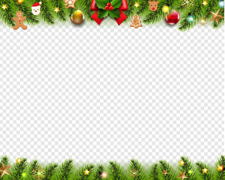 Christmas Garland And Toys Frame White background With Gradient Mesh, Vector Illustration