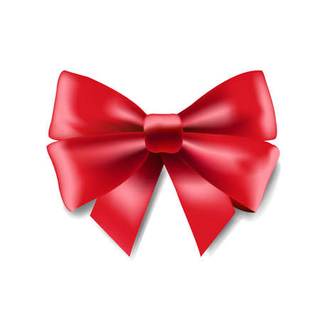 Red Ribbon Bow With Gradient Mesh, Vector Illustration