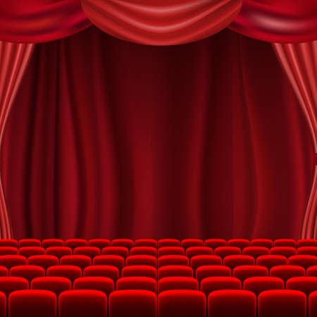 Cinema Screen With Curtains With Gradient Mesh, Vector Illustration Vektoros illusztráció