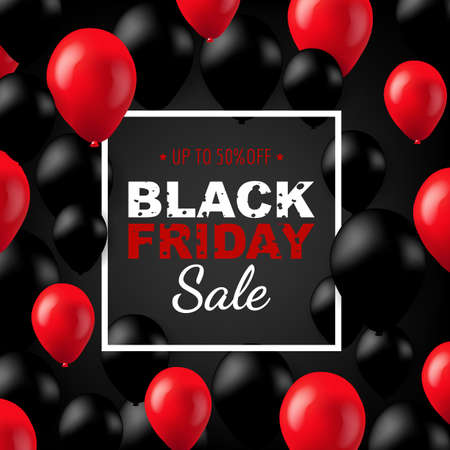 Black Friday Poster With Balloons Gradient Mesh, Vector Illustration