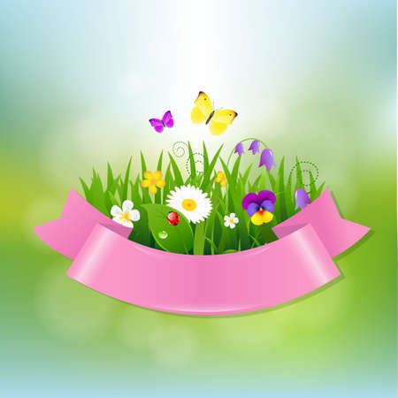 Spring Flowers With Pink Ribbon With Gradient Mesh, Vector Illustration