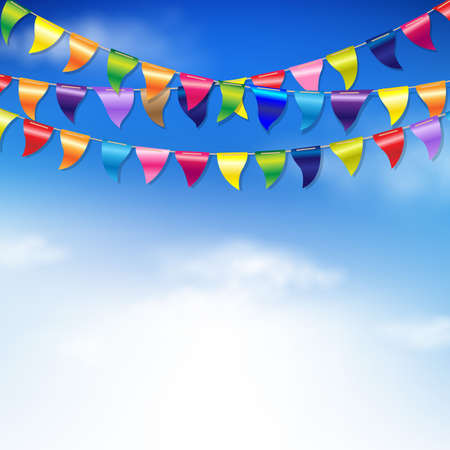 Bunting Birthday Flags With Sky With Gradient Mesh, Vector Illustration Vector Illustration