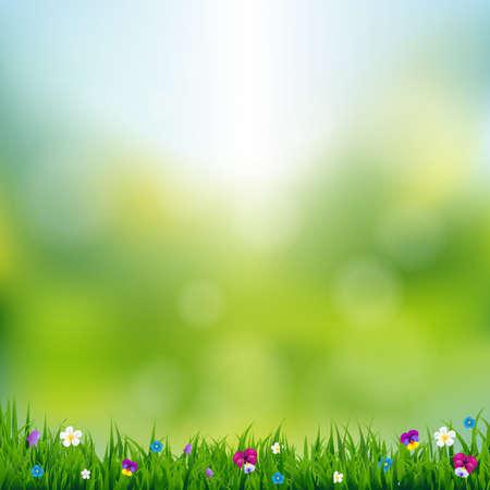 Spring Landscape With Gradient Mesh, Vector Illustration