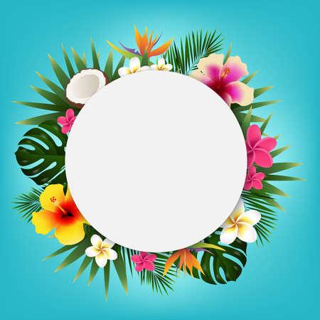 Summer Sale Tropical Banner, Vector Illustration