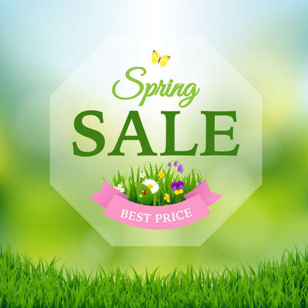 Spring Sale Poster With Gradient Mesh, Vector Illustration