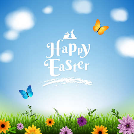 Happy Easter Poster With Gradient Mesh, Vector Illustration Vektorgrafik