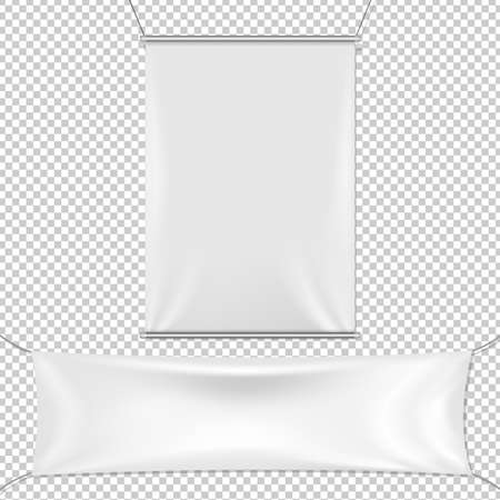 White Banners Set, Isolated on Transparent Background, With Gradient Mesh, Vector Illustration