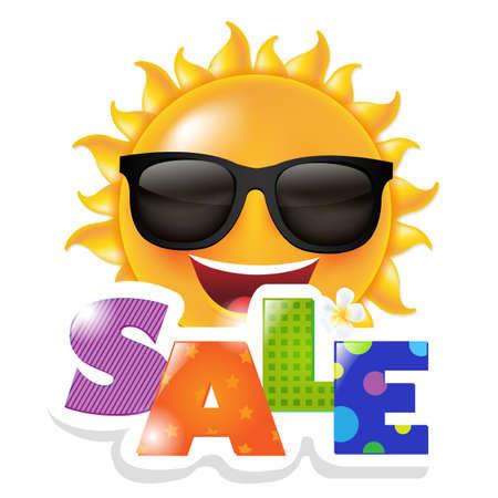 Sun Smile Sale, With Gradient Mesh, Vector Illustration Vettoriali