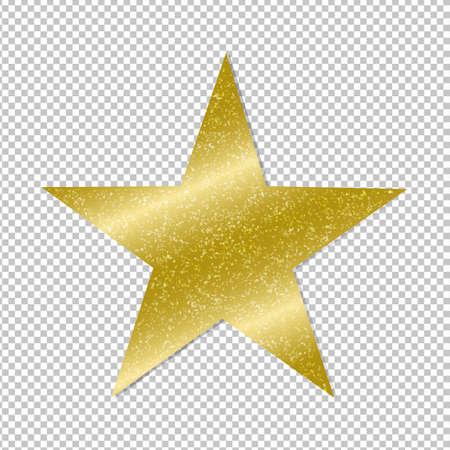 Golden Star On Transparent Background Gradient Mesh, Vector Illustration