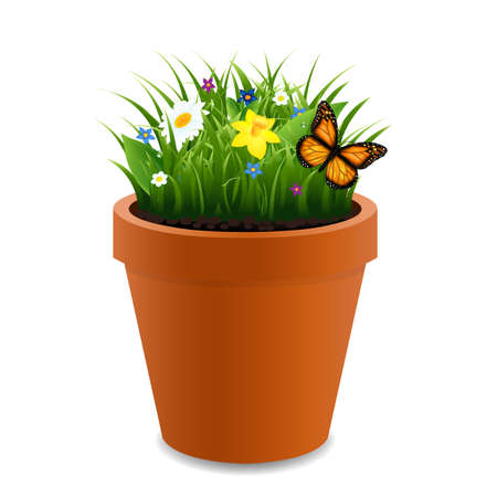 Flowers In Pot With Gradient Mesh, Vector Illustration