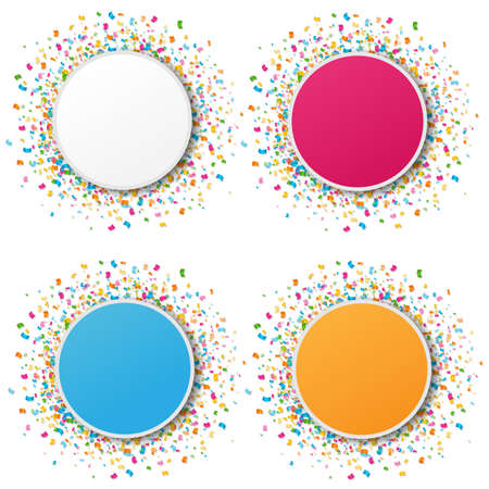 Banners Set With Confetti White Background With Gradient Mesh, Vector Illustration