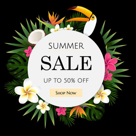 Summer Sale Tropical Banner, Vector Illustration, With Gradient Mesh