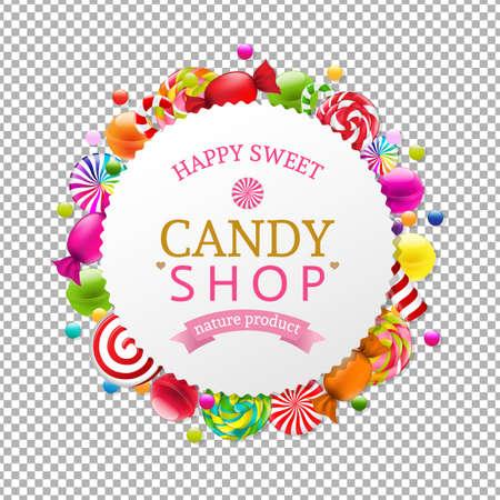 Candy Shop Banner With Gradient Mesh, Vector Illustration Vecteurs