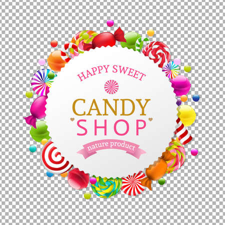 Candy Shop Banner With Gradient Mesh, Vector Illustration Vetores