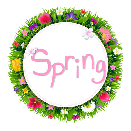Banner With Spring Flowers With Gradient Mesh, Vector Illustration