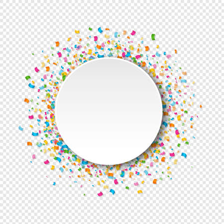 White Banner With Confetti Transparent Background With Gradient Mesh, Vector Illustration