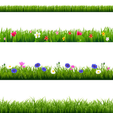 Big Set Green Grass And Spring Flowers Borders With Gradient Mesh, Vector Illustration