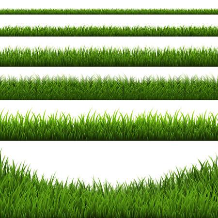 Grass Border Set, Vector Illustration