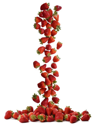 cascade: cascade of freshly picked fresh strawberries