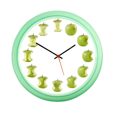 bitten: clock with 12 apples bitten