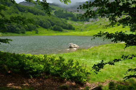 underbrush: View of Lake Baccio, beautiful green valley Stock Photo