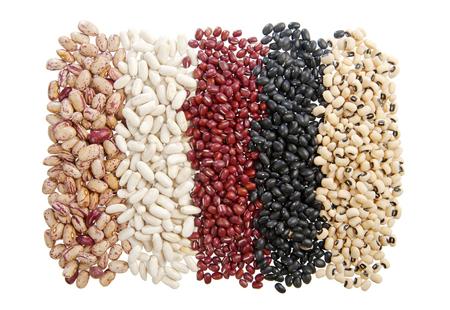 5 varieties of beans in a row