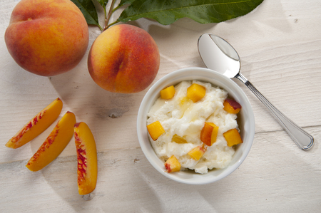 lactic: yoghurt mousse with whole side peaches