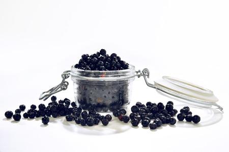 glass jar: blacks blueberries in the glass jar Stock Photo