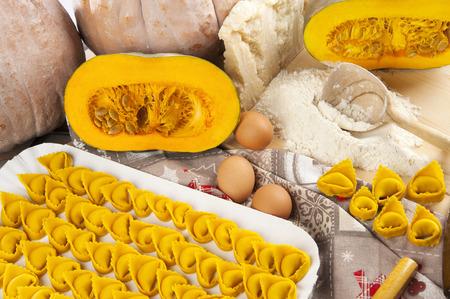 Tortelli homemade pumpkin around with some ingredients Stock Photo