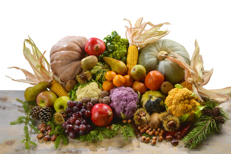 heap of fruits and vegetables, autumn and winter Stock Photo