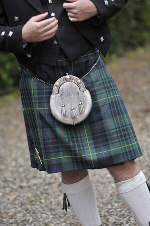 traditional Scottish dress, kilt and sporran, during a ceremony