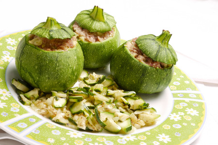 round Zucchini stuffed served in a decorated plate Banco de Imagens