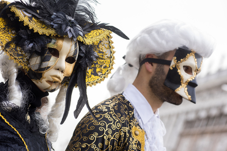 Typical masks and masked people during the Venice Carnival
