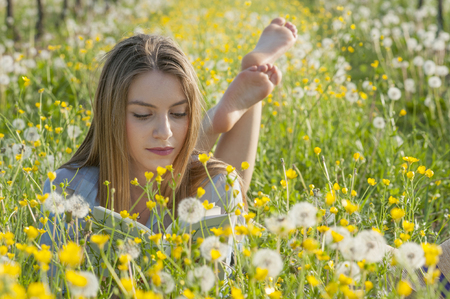 young woman lying down reading in a field with yellow flowers