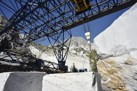 Blocks of white marble in a marble quarry in Carrara