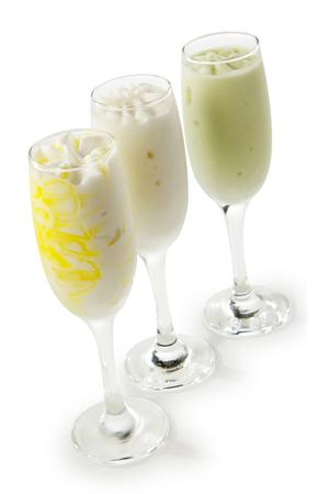 Ice cream sorbet in glass glass, three tastes Stock Photo - 117544565