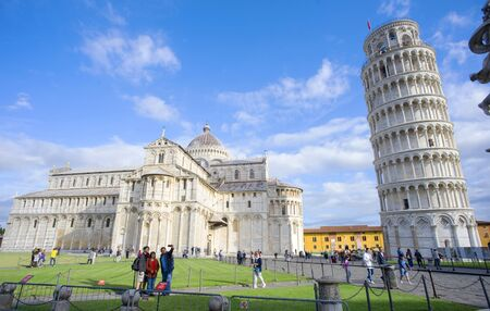 View of the Square of Pisa with the Leaning Tower and the Cathedral