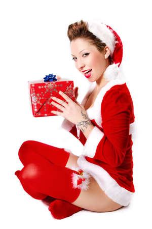 Natale Pin Up Girl Archivio Fotografico - 32135676