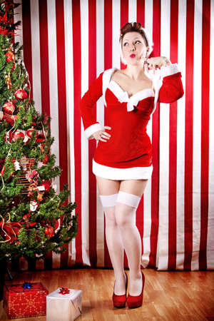 Natale Pin Up Girl Archivio Fotografico - 32135685