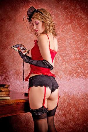 Burlesque Carnival Sexy Girl Stock Photo