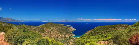 poros: Panorama , Poros Island , Aegean Sea , Greece Stock Photo
