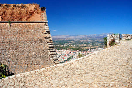 bourtzi: Nafplio - view of the old part of the city and Bourtzi Stock Photo