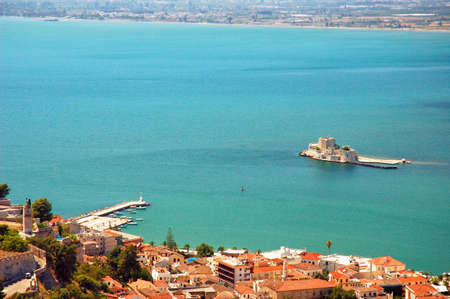 Nafplio - view of the old part of the city and Bourtzi Stock Photo