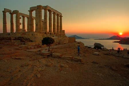 temple grec: Ancien temple grec de Pos�idon. Cap Sounion Ath�nes, Gr�ce