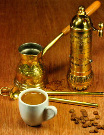Traditional set for arabic and greek coffee making photo