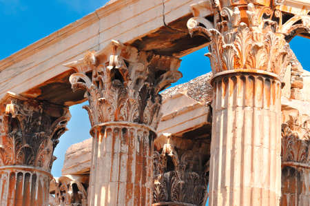 olympian: Temple of Olympian Zeus ,  Athens , Greece . Close view Stock Photo