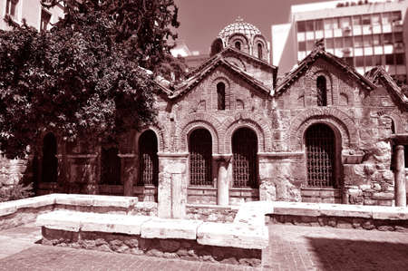byzantium: The Byzantine Church of Panaghia Kapnikarea is a Greek Orthodox church and one of the oldest churches in Athens . Stock Photo