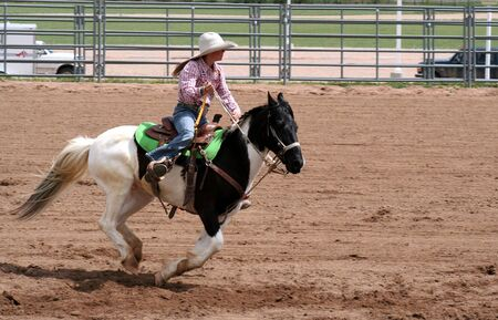 arena rodeo: Pole bending at spring rodeo. Young woman on paint horse.