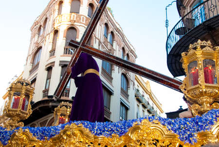 Float with Jesus figure in Easter procession during Holy Week, Sevile, Andalucia, Spain Editorial