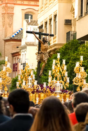 semana santa: Float with Jesus figure in Easter procession during Holy Week, Sevile, Andalucia, Spain. Editorial